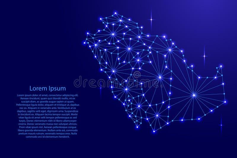 De kaart van Saudi-Arabië van het veelhoekige netwerk van mozaïeklijnen, stralen, ruimtesterren stock illustratie