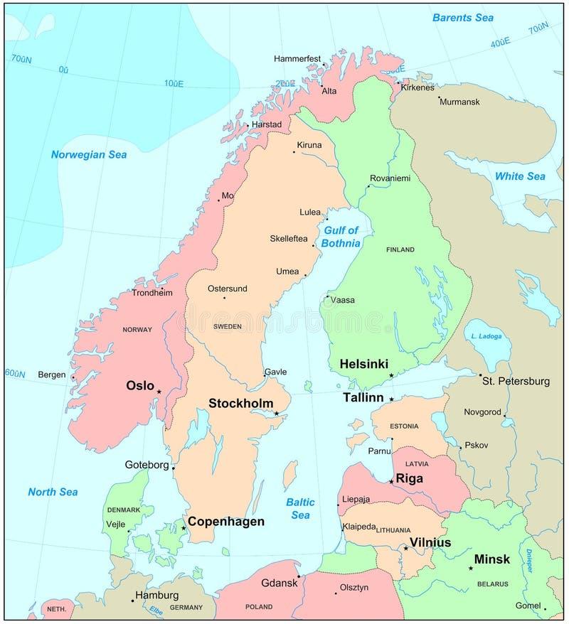 De kaart van Scandinavië vector illustratie