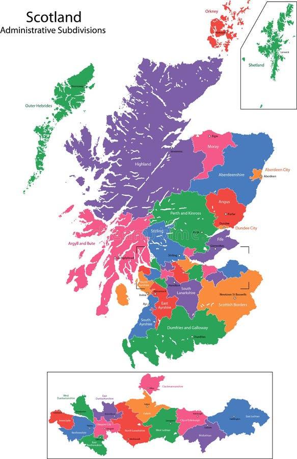 De kaart van Schotland
