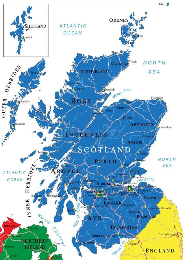 De kaart van Schotland royalty-vrije illustratie