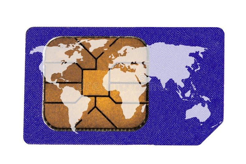 De Kaart van Sim met de Kaart van de Wereld royalty-vrije stock foto