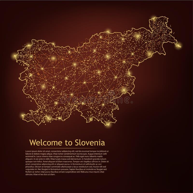 De kaart van Slovenië Abstracte van het brijlijn en punt schalen op donkere geometrische achtergrond Lijn van het het Netwerk vee stock illustratie