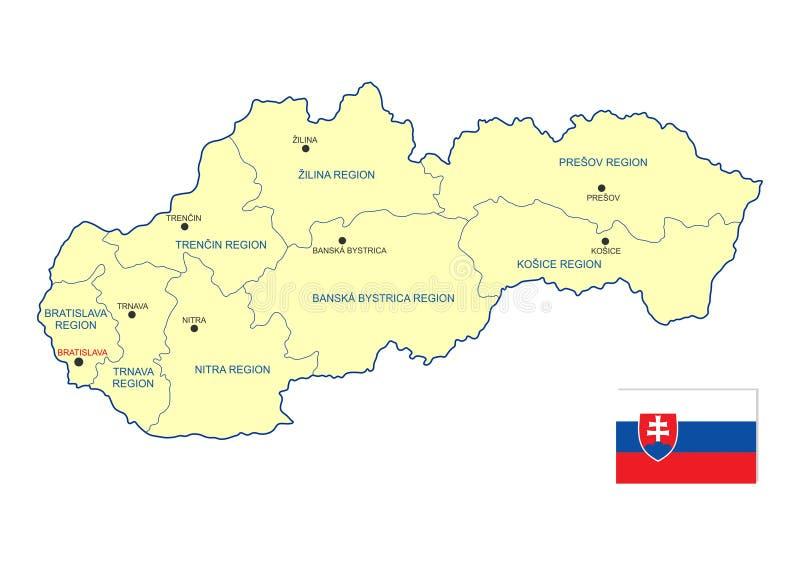 De kaart van Slowakije vector illustratie