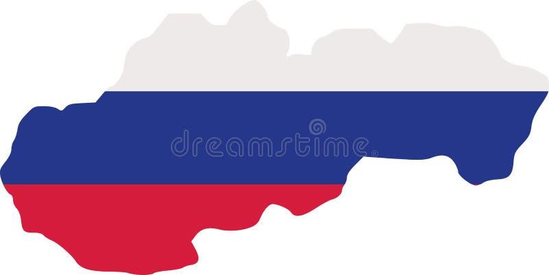 De kaart van Slowakije met vlag stock illustratie