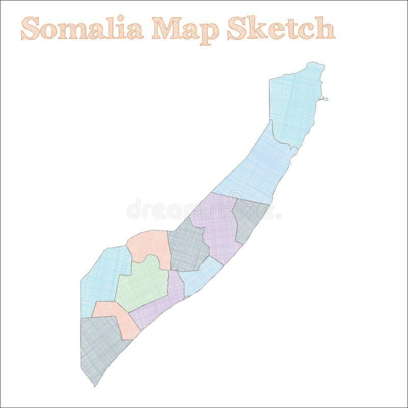 De kaart van Somalië royalty-vrije illustratie