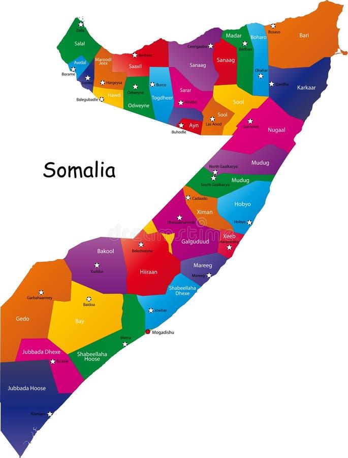 De kaart van Somalië stock illustratie