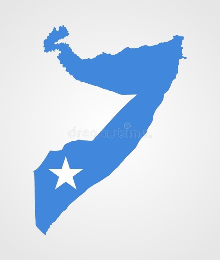 De kaart van Somalië met vlag wordt gevuld die vector illustratie