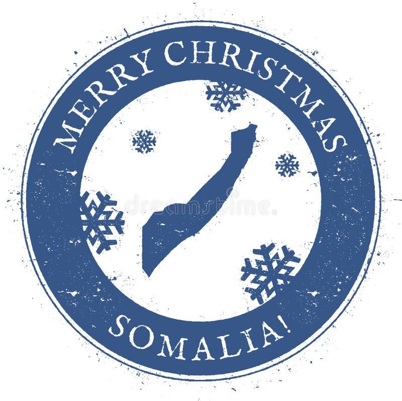 De kaart van Somalië Uitstekende Vrolijke Kerstmis Somalië stock illustratie