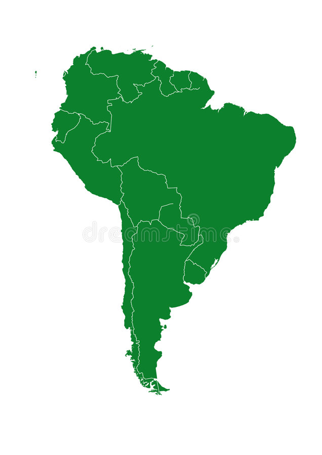 De kaart van Southamerica