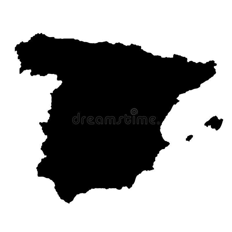 DE KAART VAN SPANJE vector illustratie