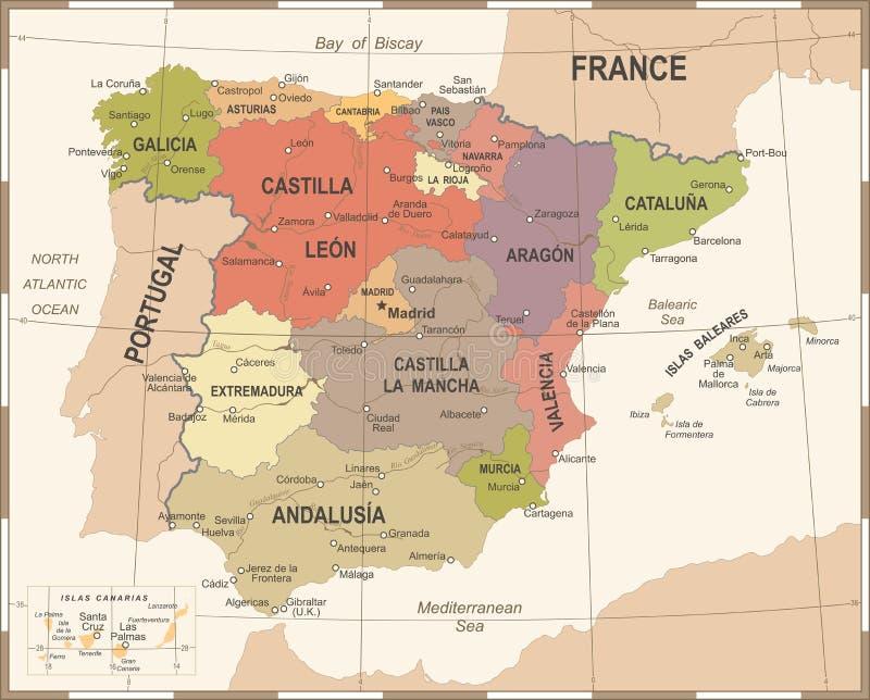 De Kaart van Spanje - Uitstekende Vectorillustratie royalty-vrije illustratie
