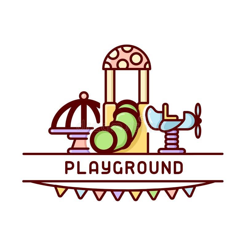 De kaart van speelplaatsjonge geitjes met carrousel, schommeling en buis stock illustratie