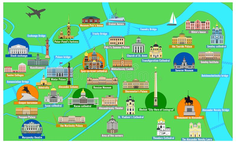 De kaart van St. Petersburg met beroemde oriëntatiepunten vector illustratie