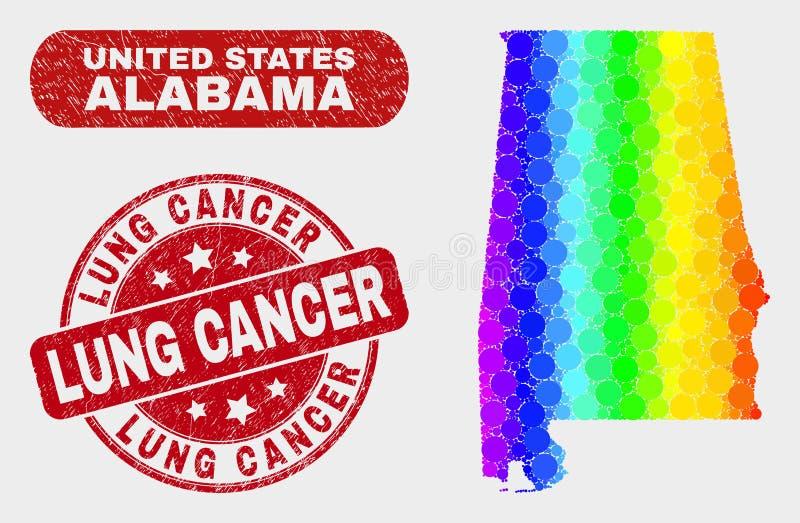 De Kaart van de Staat van Alabama van het spectrummozaïek en Gekrast Lung Cancer Stamp Seal stock illustratie