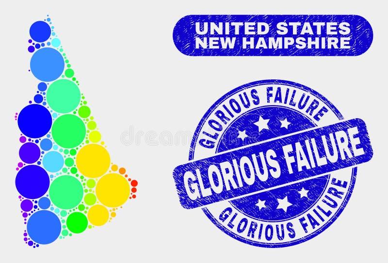De Kaart van de Staat van New Hampshire van het spectrummozaïek en de Zegelverbinding van de Nood Glorierijke Mislukking vector illustratie