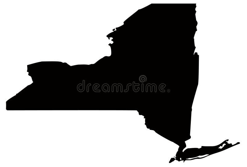 De kaart van de Staat van New York - staat in de Verenigde Staten van Amerika royalty-vrije illustratie