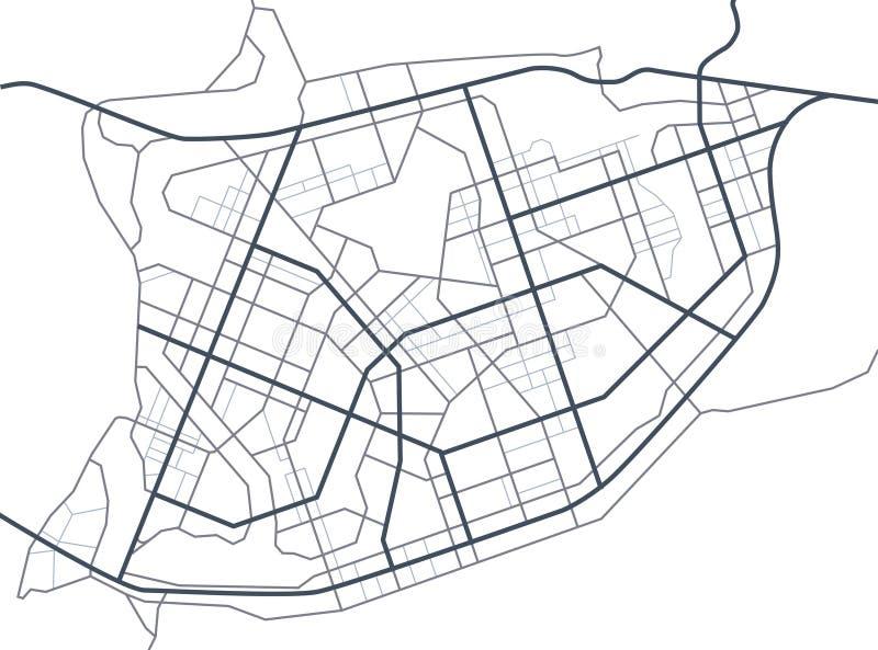 De kaart van de stad Lijnregeling van wegen Stadsstraten op het plan Stedelijk milieu, architecturale achtergrond Vector royalty-vrije illustratie