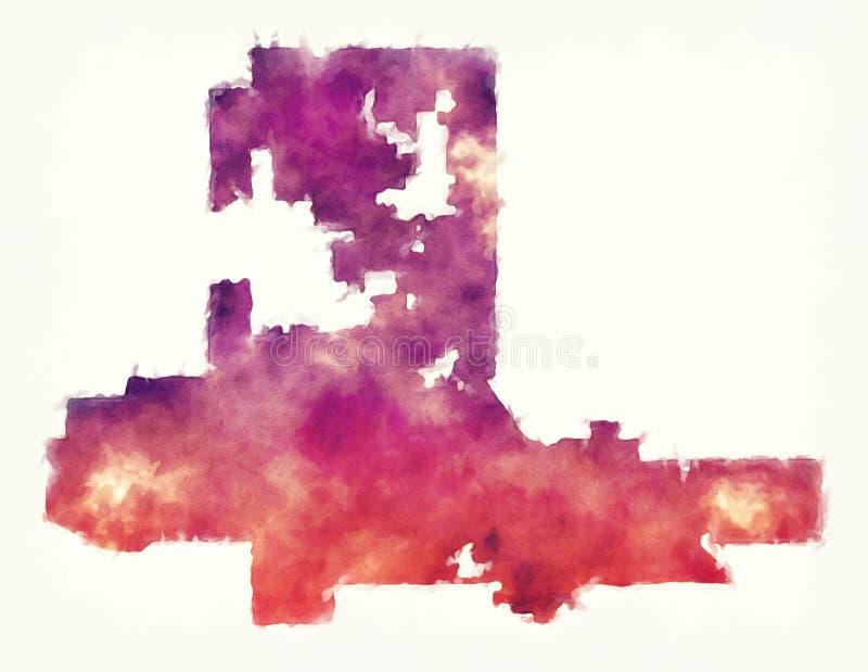 De kaart van de de stadswaterverf van Las Vegas Nevada voor een witte backgro royalty-vrije illustratie