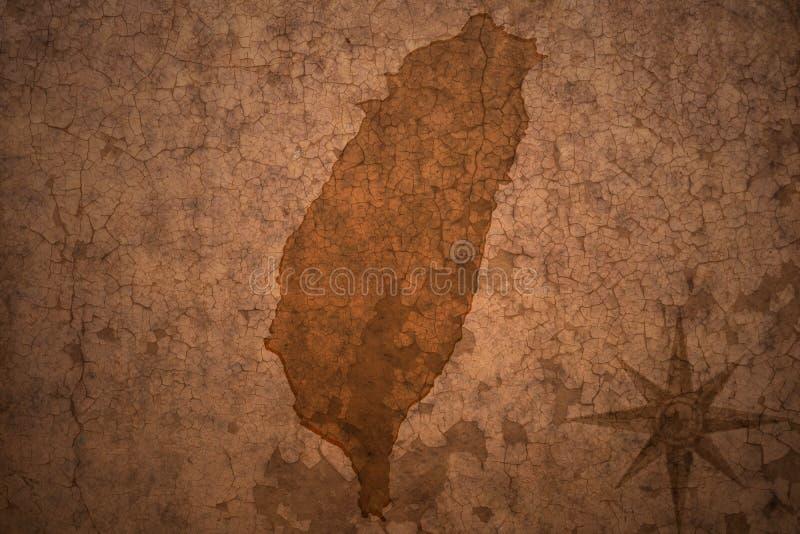 De kaart van Taiwan op uitstekende document achtergrond stock foto's