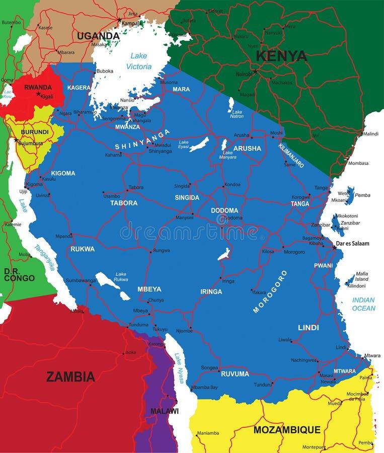 De kaart van Tanzania stock illustratie