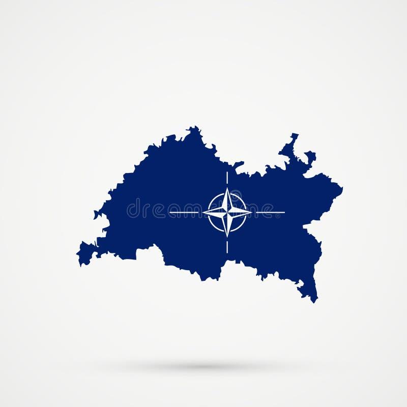 De kaart van Tatarstan in de Noordatlantische Verdragsorganisatienavo vlagkleuren, editable vector stock foto