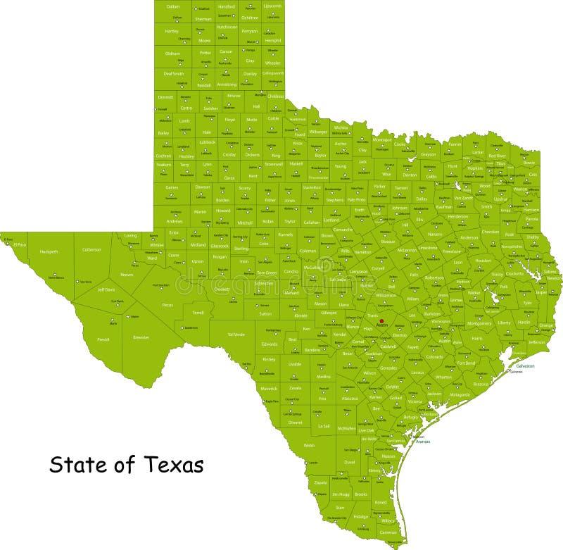 De kaart van Texas royalty-vrije illustratie