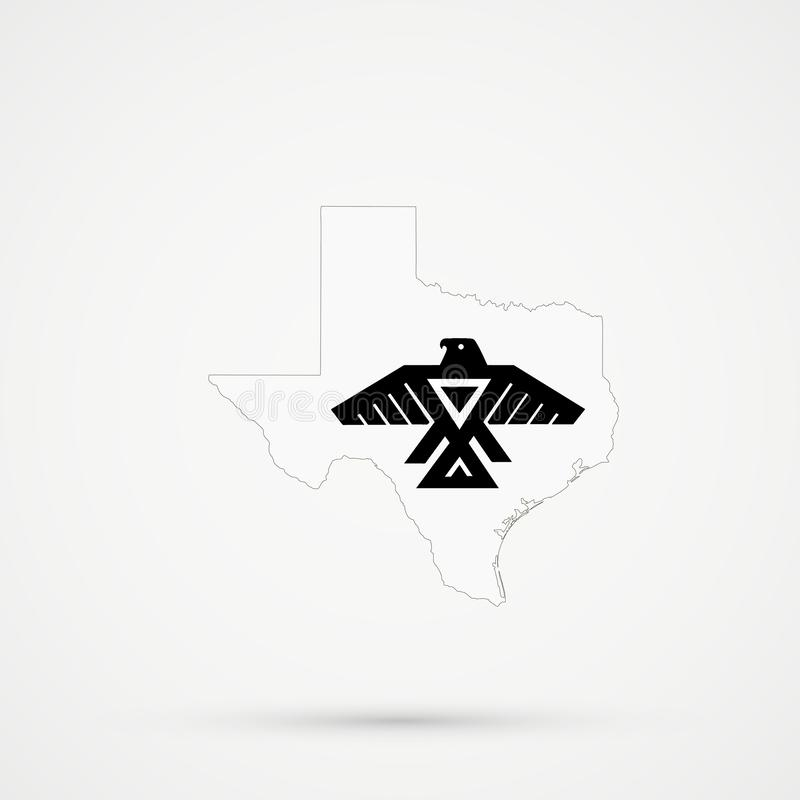 De kaart van Texas in Anishinabe-vlagkleuren, editable vector vector illustratie