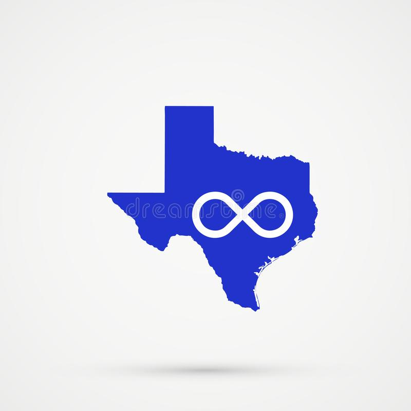 De kaart van Texas in Blauwe de vlagkleuren van Metis, editable vector stock illustratie