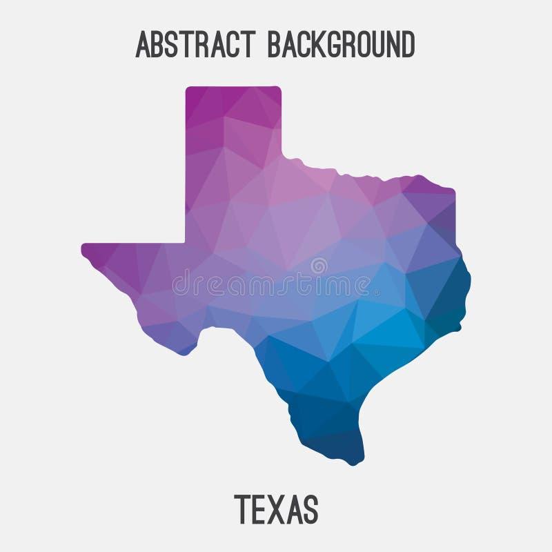 De kaart van Texas in geometrische veelhoekig, mozaïekstijl stock illustratie