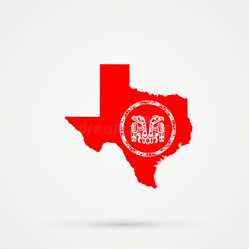 De kaart van Texas in Haida-vlagkleuren, editable vector royalty-vrije illustratie