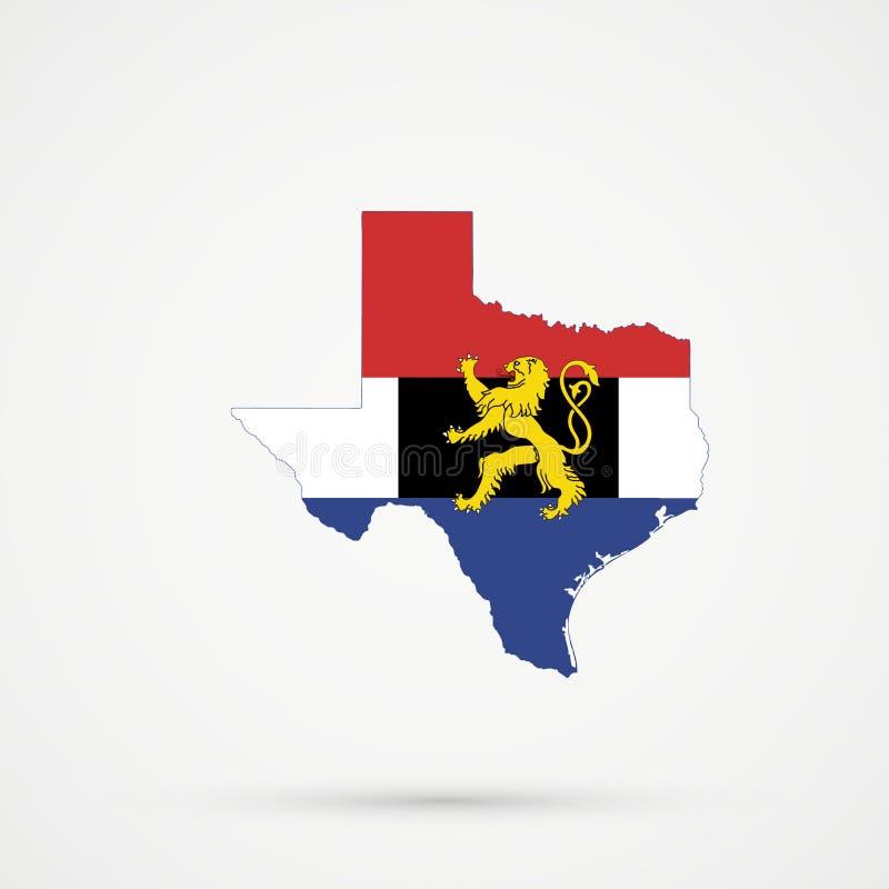 De kaart van Texas in de Unie van Benelux vlagkleuren, editable vector vector illustratie