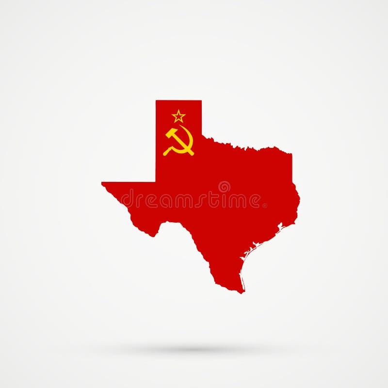 De kaart van Texas in de vlagkleuren van de USSR, editable vector vector illustratie