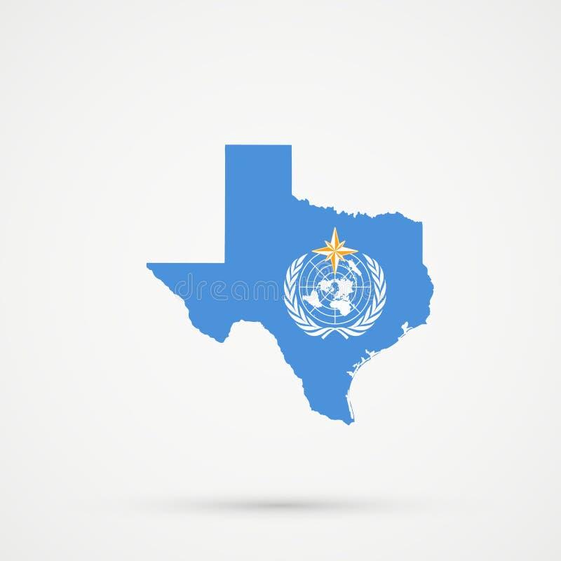 De kaart van Texas in de vlagkleuren van de Wereld Meteorologische Organisatie WMO, editable vector stock illustratie