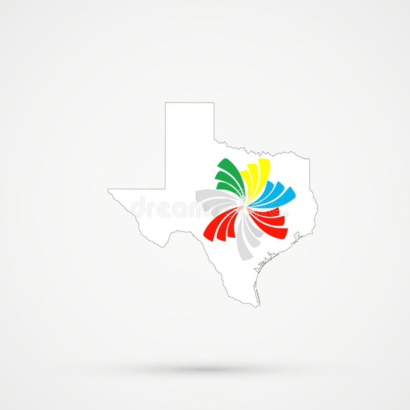 De kaart van Texas in Vreedzame Alliance-vlagkleuren, editable vector royalty-vrije illustratie