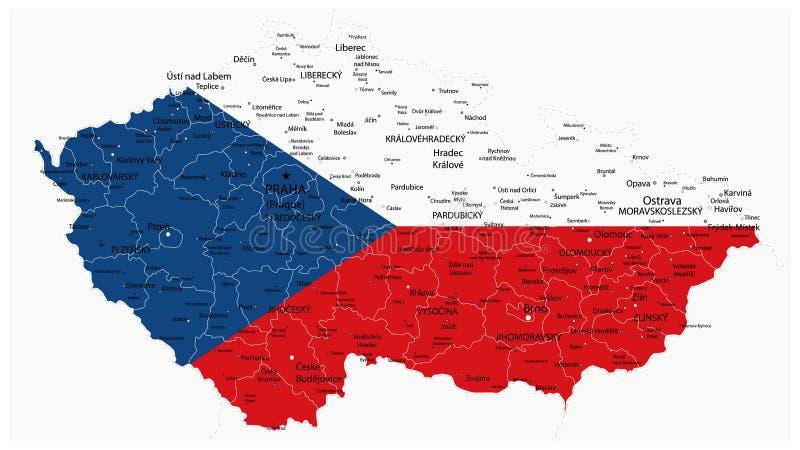 De Kaart van de Tsjechische die Republiek door Nationale Vlag wordt gekleurd vector illustratie
