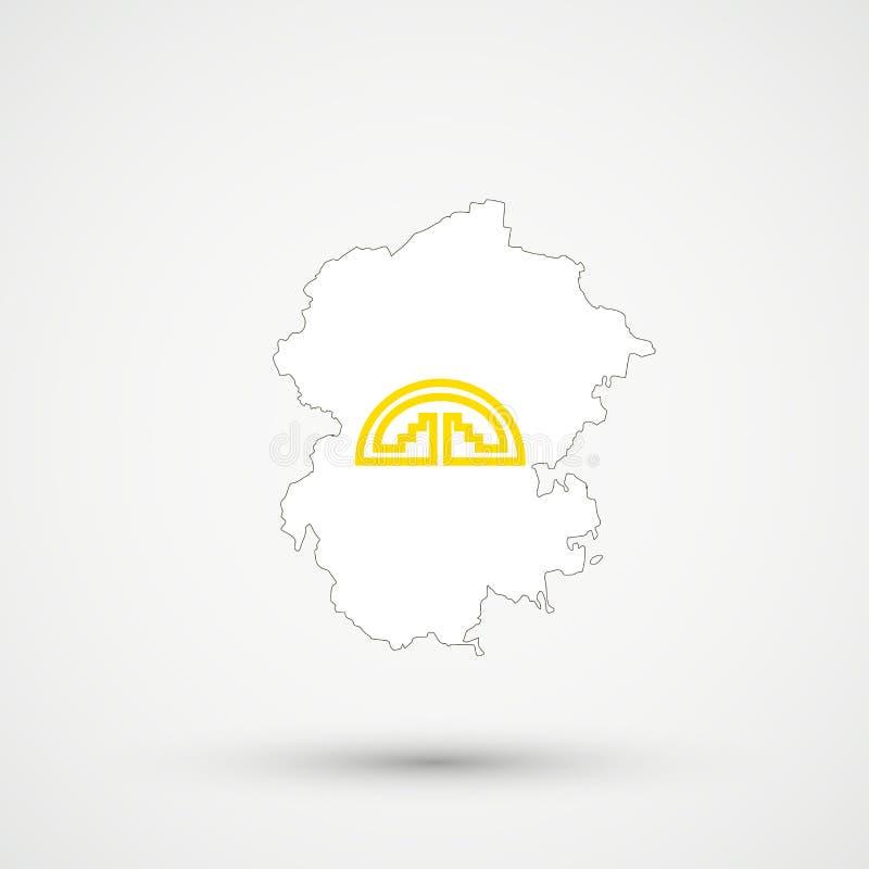 De kaart van Tsjoevasjië in Andes Communautaire vlagkleuren, editable vector royalty-vrije illustratie
