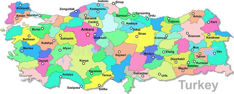 De kaart van Turkije