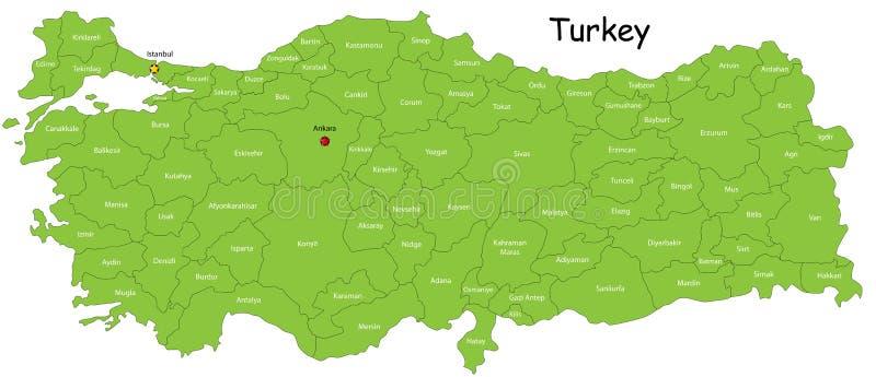 De kaart van Turkije stock illustratie