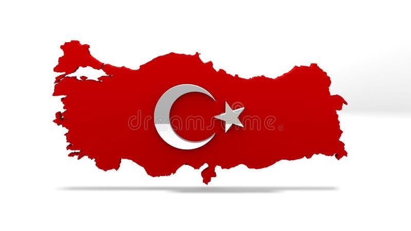 De kaart van Turkije Turks Vlagteken De Kaartteken van het Land van Turkije royalty-vrije stock foto