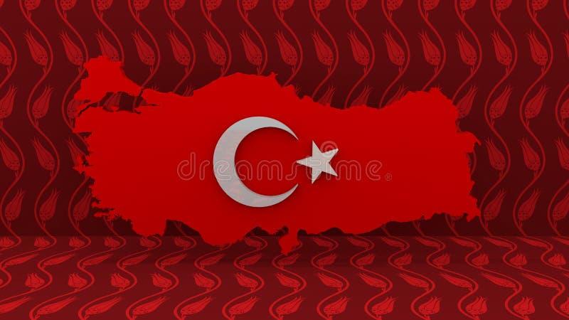 De kaart van Turkije Turks Vlagteken De Kaartteken van het Land van Turkije stock afbeeldingen