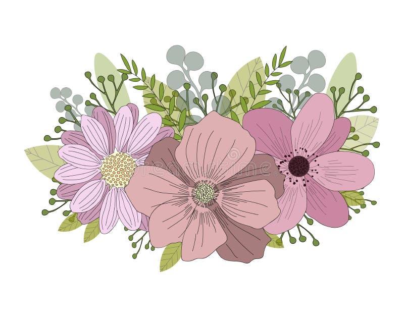De kaart van de uitnodiging _1 Reeks mooie bloemen en bladeren Hand getrokken vectorillustratie vector illustratie