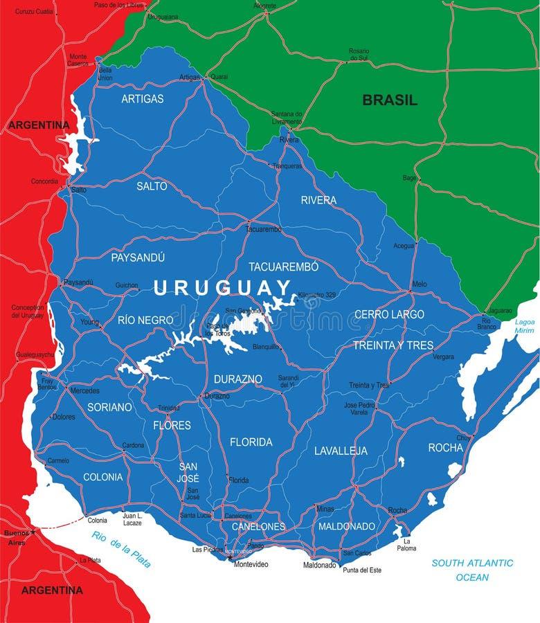 De kaart van Uruguay vector illustratie