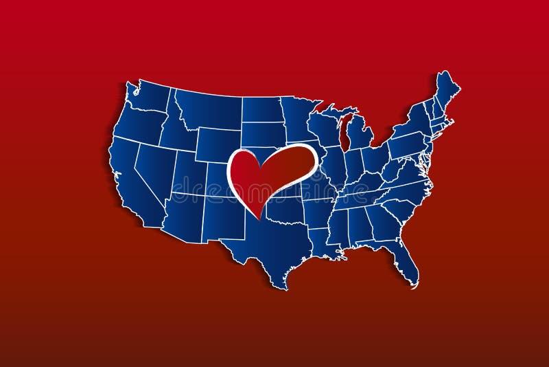 De Kaart van de V.S. met een vector het pictogramembleem van het liefdehart vector illustratie