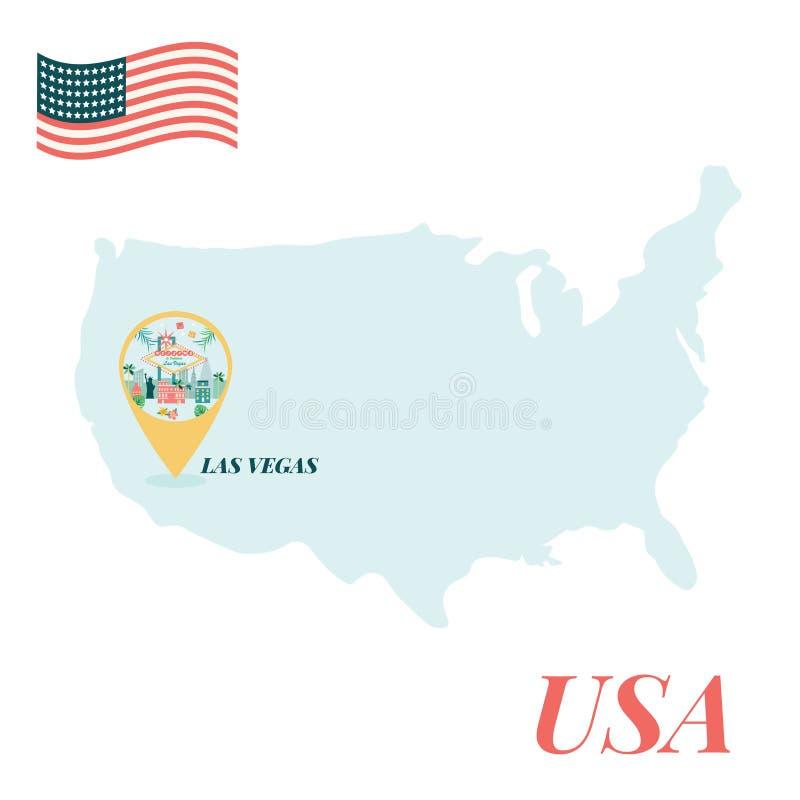 De kaart van de V.S. met Las Vegas Pin Travel Concept royalty-vrije illustratie