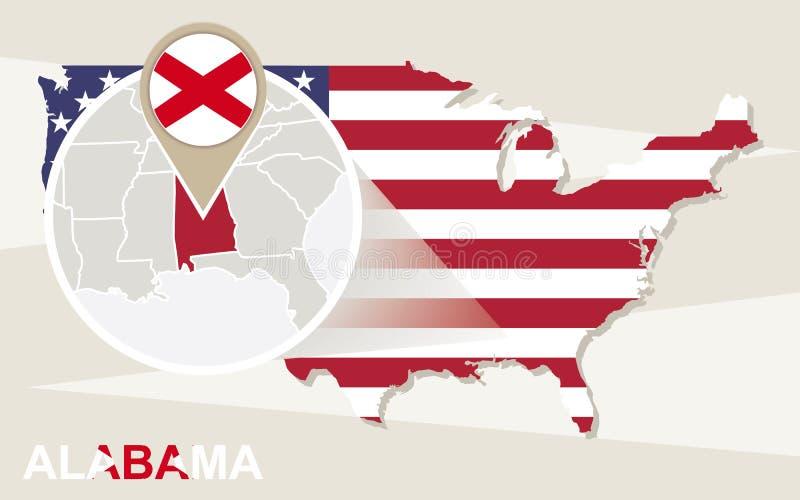 De kaart van de V.S. met de overdreven Staat van Alabama De vlag en de kaart van Alabama royalty-vrije illustratie