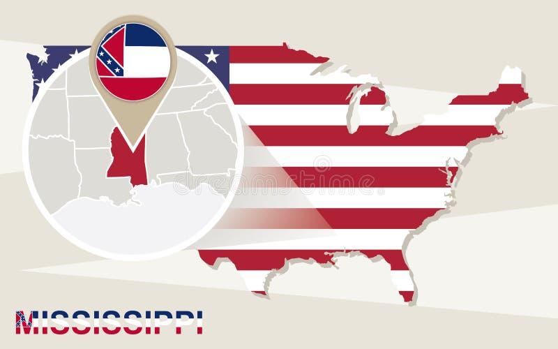 De kaart van de V.S. met de overdreven Staat van de Mississippi De vlag van de Mississippi en m royalty-vrije illustratie