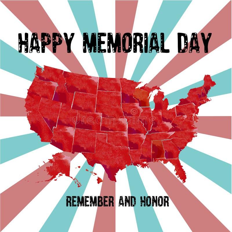 De kaart van de V.S. met de tekst Herdenkingsdag herinnert zich en eert Viering van iedereen wie dienden royalty-vrije illustratie