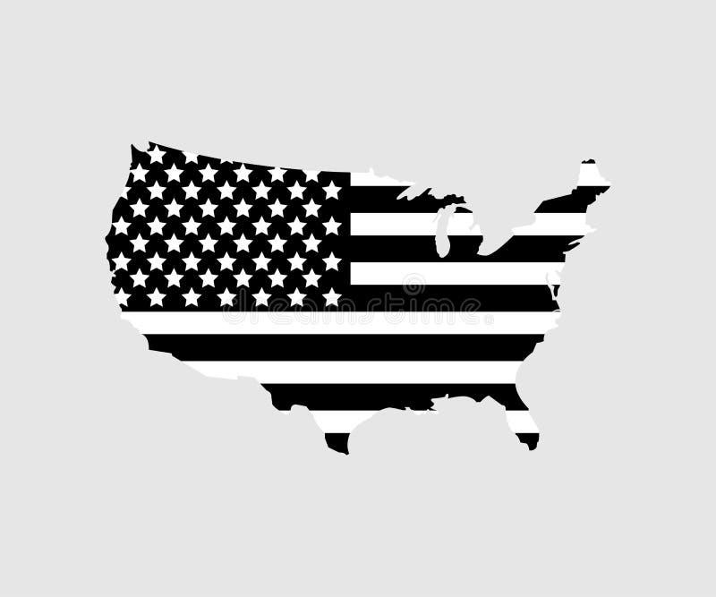 De kaart van de V.S. met vlag de V.S. in zwarte kleur op grijze achtergrond Vlak Ontwerp royalty-vrije illustratie