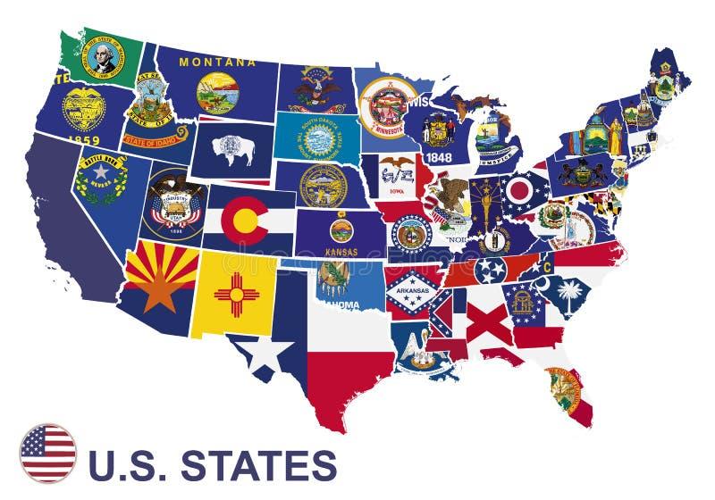 De kaart van de V.S. met vlaggen van staten vector illustratie