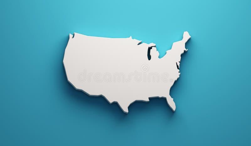 De Kaart van de V.S. Verenigde Staten 3d geef illustratie terug vector illustratie